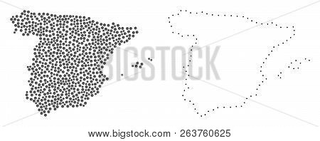 Dot And Contour Map Of Spain Created With Dots. Vector Gray Abstraction Of Map Of Spain. Connect The