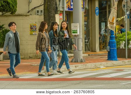 Samcheok, South Korea; September 24, 2018: Group Of Three Young Unidentified Korean Women And One Ma