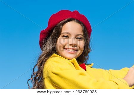 Girl Walk Blue Sky Background. Charming Little French Style Fashionable Girl. Hat Accessory French F