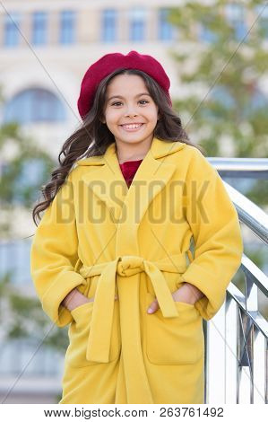 French Trend Fall Season. Girl Walk Defocused Background. Charming Little French Style Fashionable G