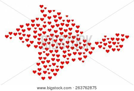 Collage Map Of Crimea Composed With Red Love Hearts. Vector Lovely Geographic Abstraction Of Map Of