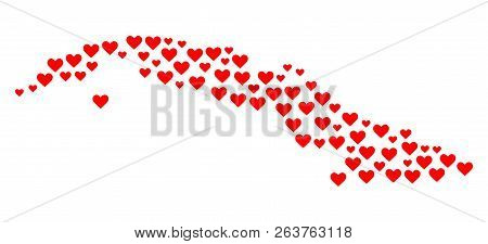Collage Map Of Cuba Island Created With Red Love Hearts. Vector Lovely Geographic Abstraction Of Map