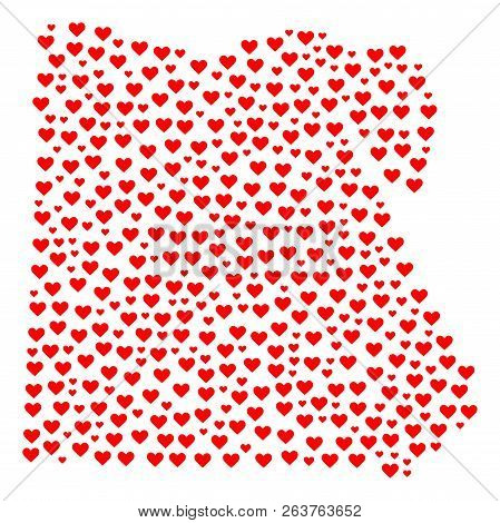 Mosaic Map Of Egypt Created With Red Love Hearts. Vector Lovely Geographic Abstraction Of Map Of Egy