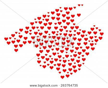 Collage Map Of Majorca Designed With Red Love Hearts. Vector Lovely Geographic Abstraction Of Map Of