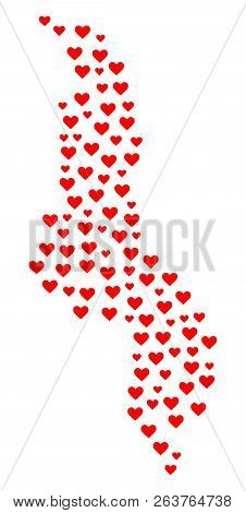Mosaic Map Of Malawi Composed With Red Love Hearts. Vector Lovely Geographic Abstraction Of Map Of M
