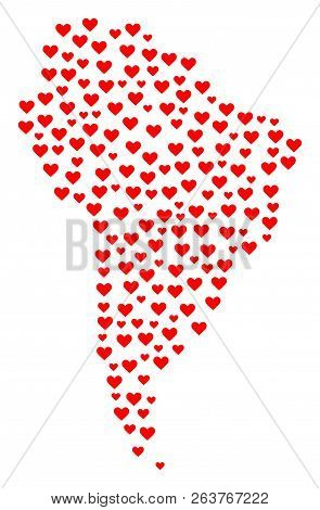 Collage Map Of South America Composed With Red Love Hearts. Vector Lovely Geographic Abstraction Of