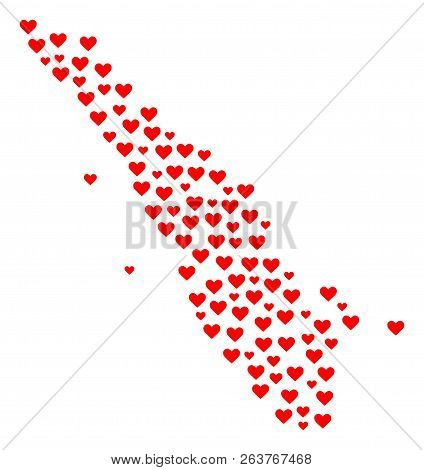 Mosaic Map Of Sumatra Island Designed With Red Love Hearts. Vector Lovely Geographic Abstraction Of
