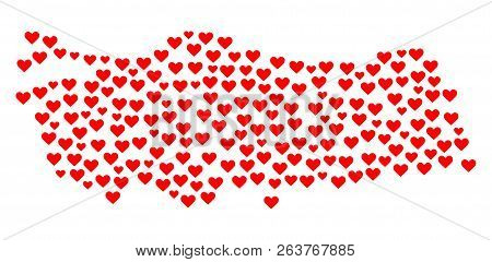 Mosaic Map Of Turkey Created With Red Love Hearts. Vector Lovely Geographic Abstraction Of Map Of Tu
