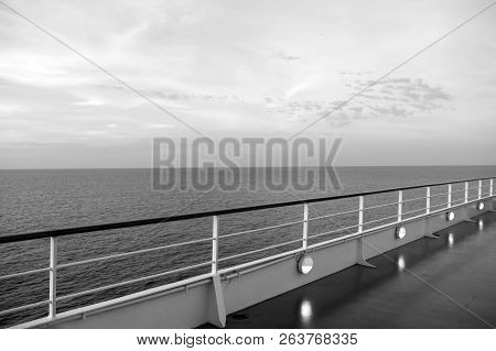 Shipboard On Idyllic Seascape On Evening Sky. Ship Board In Miami, Usa In Blue Sea. Water Travel, Vo