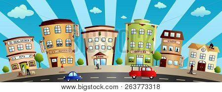 A Vector Illustration Of City Buildings And Shops