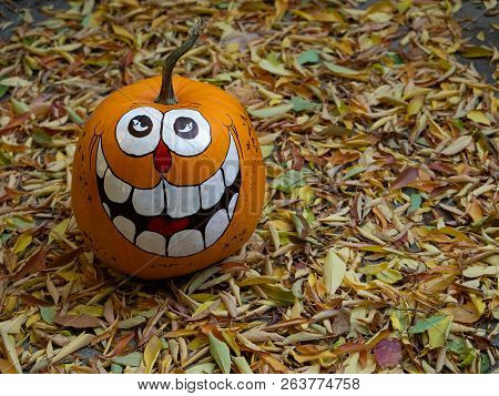 A Hand-painted, Grinning Halloween Pumpkin Surrounded By Golden Dried Leaves. Photographed From Abov