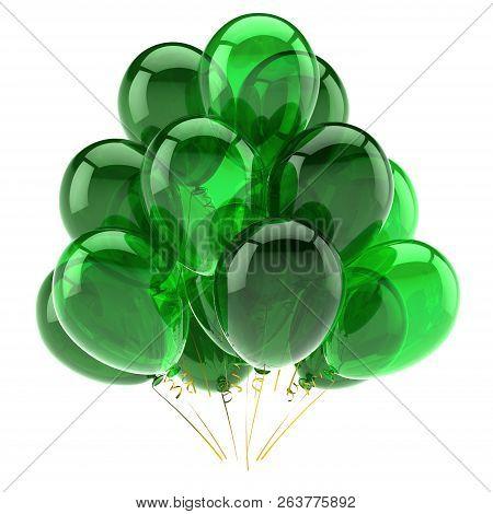 Green Birthday Helium Balloon Bunch Party, Celebration, Anniversary Decoration Glossy. 3d Rendering