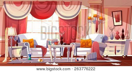 Living Room In Classic Provence Style With Horrible Mess, Full Of Trash Cartoon Vector Illustration.