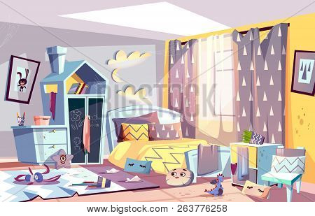 Messy bedroom of lazy child with scattered toys and dirty clothes, stained furniture and capet cartoon vector illustration. Children room interior in terrible chaos. Sloppy, absent minded kid concept poster
