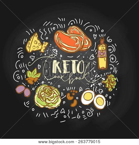Take The Keto Challenge Food Sketch Illustration - Multy-colored Vector Sketch Healthy Concept. Heal