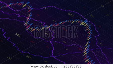 Business graph with tending. Candle stick of stock market or forex trading in perspective graphic design for financial investment concept.Stock Market Prices. Candle stick stock market tracking graph. Economical stock market graph. poster
