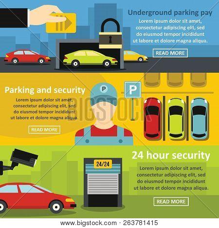 Parking Security Banner Horizontal Concept Set. Flat Illustration Of 3 Parking Security Banner Horiz