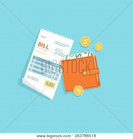 Bill Paying. Paper Check, Reciept, Invoice, Order Icon. Bill With Purse, Cash Money Banknotes, Gold