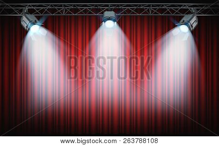 Bright Stage Spotlights Shining On Red Curtain Background. 3d Rendering