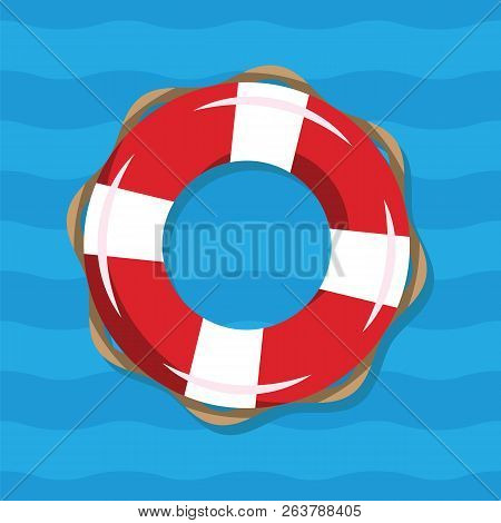 Life Buoy Illustration On Blue Sea Background. Red And White Lifebuoy With Stripes For Sos Emergency