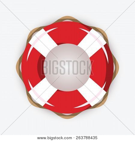 Life Buoy Isolated On White Background. Red And White Lifebuoy With Stripes For Sos Emergency, For S