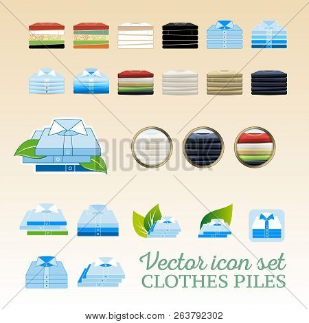 Vector Clothing Piles Flat And Realistic Icon Set With Leaves And Shadows. Man T-shirts Piles And Un