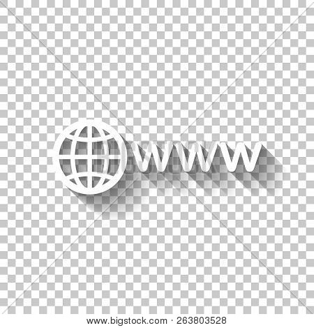 Symbol Of Internet With Globe And Www. White Icon With Shadow On