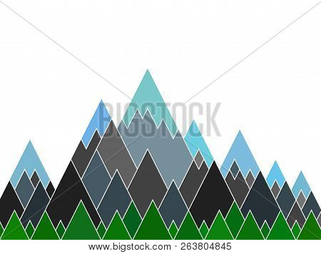 Mountain Range Abstract Vector Illustration, Green Hills, High Rocks And Snow Tops. Mountains Of Tri