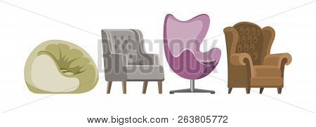 Chair Vector Comfortable Furniture Armchair And Seat Pouf Design In Furnished Apartment Interior Ill