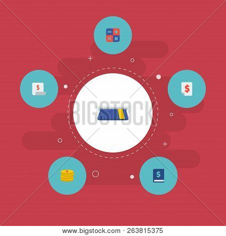 Set Of Finance Icons Flat Style Symbols With Coin, Finance Book, Calculator And Other Icons For Your