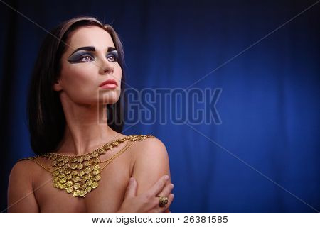 Portrait of haughty egyptian woman in ancient style