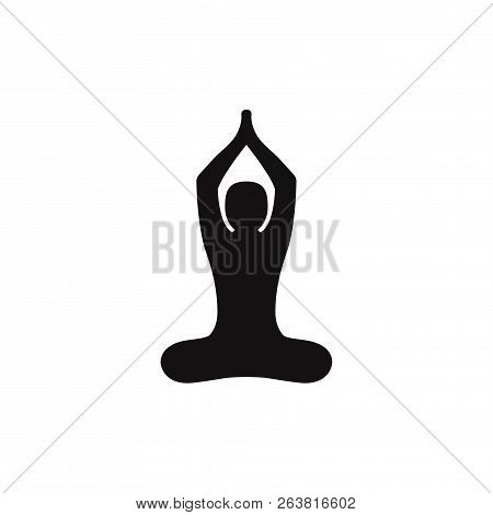 Buddhist Yoga Pose Icon Isolated On White Background. Buddhist Yoga Pose Icon In Trendy Design Style