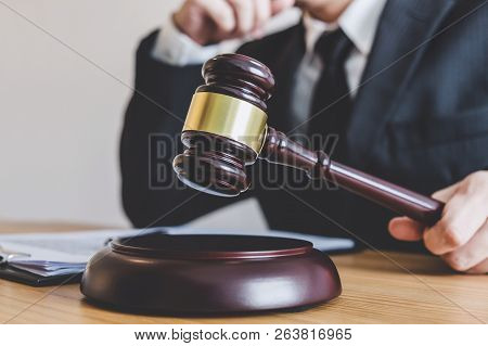Judge Gavel With Justice Lawyers, Counselor In Suit Or Lawyer Working On A Documents At Law Firm In