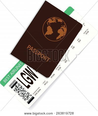 International Passport With Green Boarding Pass Inside. Journey And Vacation Concept. You Need Board