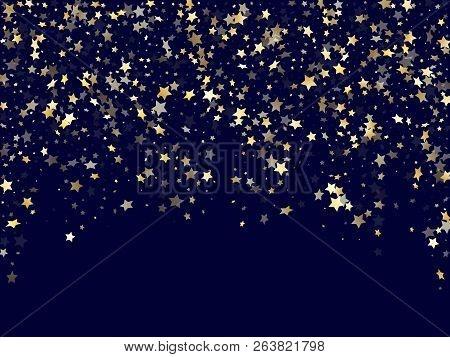 Gold Falling Star Sparkle Elements Of Glitter Gradient Vector Background. Bright Confetti Gold Stars