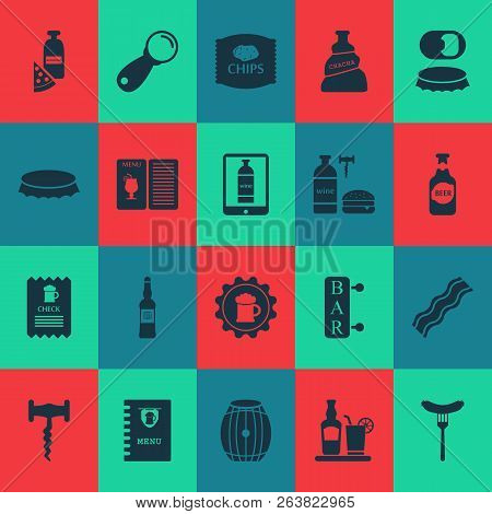 Alcohol Icons Set With Bar, Wine With Burger, Sausage And Other Bratwurst Elements. Isolated Vector
