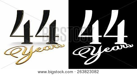 Golden Number Forty Four (number 44) And The Inscription Years With Drop Shadow And Alpha Channel. 3