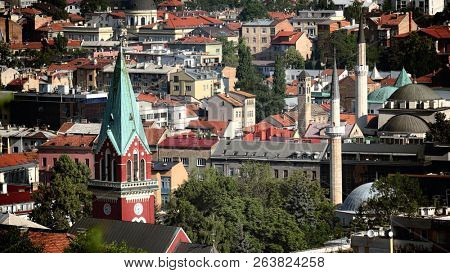 skyline Sarajevo Old Town with bell towers and minarets, Bosnia And Herzegovina poster