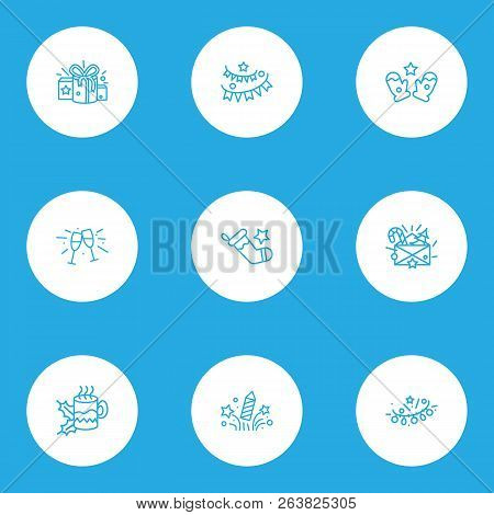 Holiday Icons Line Style Set With Hot Tea, Stemware, Christmas Stocking And Other Present Elements.