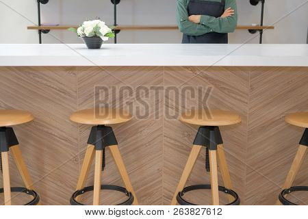 Business Owner Wearing Apron Standing At Cafe Coffee Shop Restaurant Counter Bar