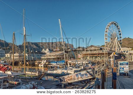 Cape Town, South Africa, August 9, 2018:  Yachts At The Victoria And Alfred Waterfront In Cape Town