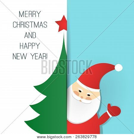 Merry Christmas, Happy New Year Greeting Card Design Template With Santa Claus