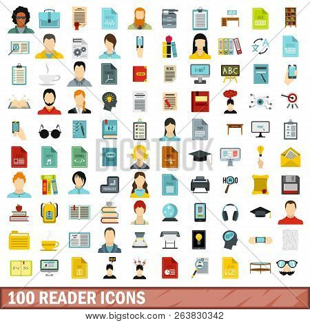 100 Reader Icons Set In Flat Style For Any Design Illustration