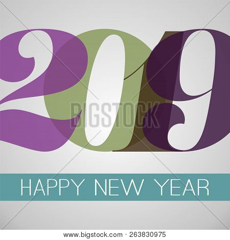 Happy New Year Greeting Card, Creative Design Template - 2019