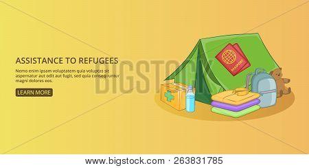 Refugees kit banner horizontal concept man. Cartoon illustration of refugees kit banner man horizontal concept for web poster