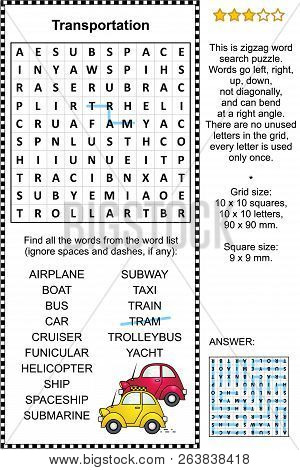 Transportation Themed Zigzag Word Search Puzzle (suitable Both For Kids And Adults). Answer Included
