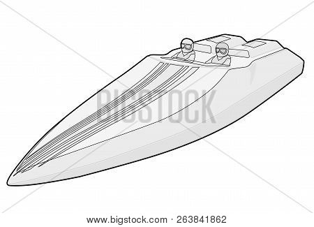 Race Sports Boat. Luxury Expensive Outlined Motorboat, Luxurious Powerboat, Deluxe Speedboat. Vector