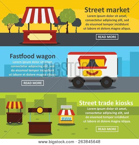 Street Food Banner Horizontal Concept Set. Flat Illustration Of 3 Street Food Trade Banner Horizonta