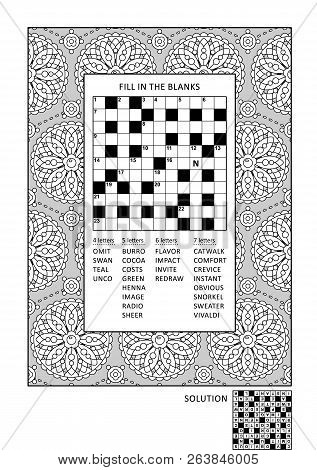 Puzzle And Coloring Activity Page For Grown-ups With Criss-cross, Or Fill In, Else Kriss-kross Word