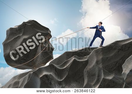 Business concept of crisis and recession